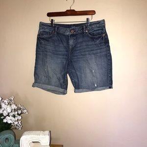 LOFT Destructed Bermuda Denim Shorts